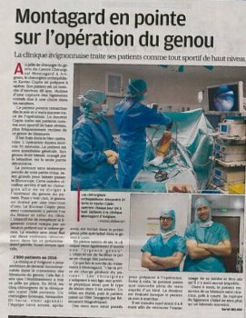 Article La Provence sur la prise en charge des entorses du genou à la Clinique Montagard